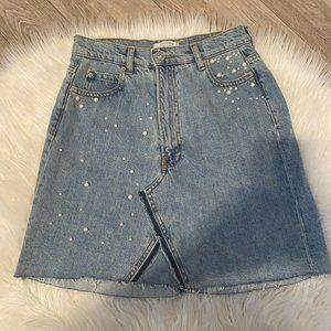 Zara Denim Skirt Embellished Pearls Raw Ed…